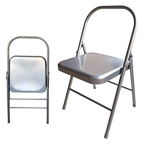 Samadhaan Iyengar Backless Yoga Chair  Prop for Flexibility and Strength Training Portable Folding Yoga Chair with MS Frame and NonSlip Feet Covers 100kg Capacity Silver