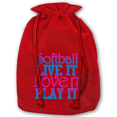 Hangdachang Softball Live It Love It Play It Weihnachts-Kordelzugbeutel, Softball-Druck, Weihnachtsgeschenktasche für Geburtstagsparty