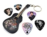 We Love Guitars Johnny Hallyday WKC 4 Mini-Porte-clés de Guitare et 5 X médiators