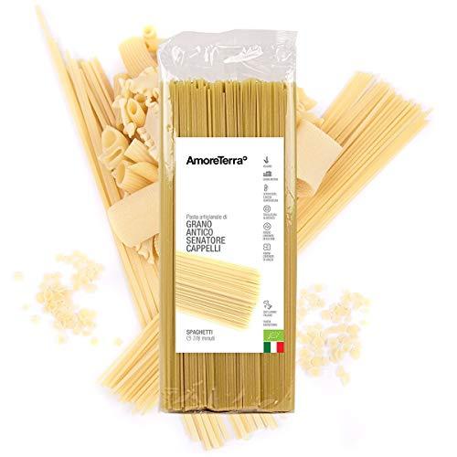 AmoreTerra Spaghetti BIO Senatore Cappelli 500g, pasta artigianale grani antichi bio trafilata al bronzo lenta essiccazione statica