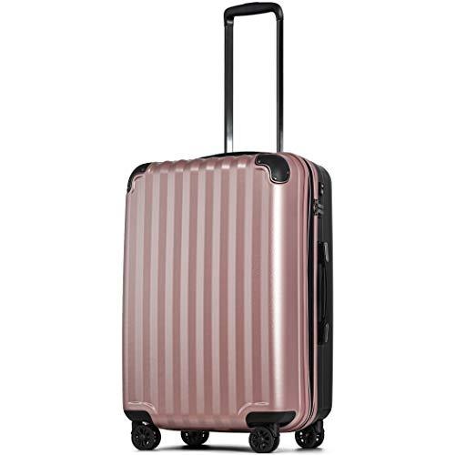 【JP Design】スーツケース キャリーケース キャリーバッグ 超軽量 tsaロック 容量アップ 拡張機能付 二枚仕切り ダブルキャスター8輪 LMサイズ ハードキャリー ファスナー (LM, ローズゴールド/BK)