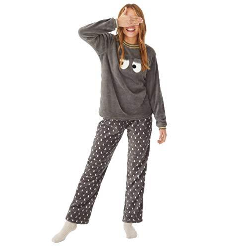 PROMISE Pijama Mujer de coralina Estampado Ojos N10782 - Gris Oscuro, L
