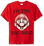 Nintendo Bro Graphic T-Shirt, red//Officially Licensed Big Dark Brown Youth Boy's el, Small