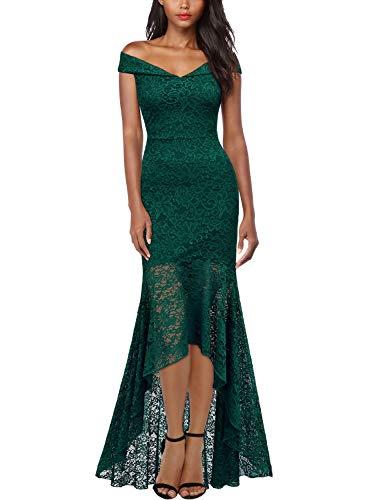 MIUSOL Damen Elegant Spitzen Cocktailkleid Schulterfrei Lange Asymmetric Maxi Abendkleider Grün M