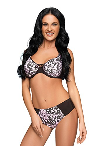 Selente My Secret attraktive Bademode (Bikini/Badeanzug) in großen Größen (C-Cup bis H-Cup) mit vorteilhaftem Schnitt, Bikini Braun/Rosa, Gr. 75J