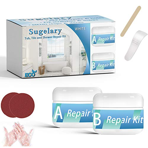 Tub, Tile, Porcelain and Shower Fiberglass Repair Kit for White Tubs, 3.5oz Waterproof Tub Repair Kit for Tub Crack, Sink, countertop, Cracked Bathtub Scratches,Toilet Joint or Installation Adhesive
