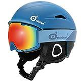 Odoland Ski Helmet with Ski Goggles, Multi-Options Snowboard Helmet and Goggles Set for Men Women, Blue & Black, S