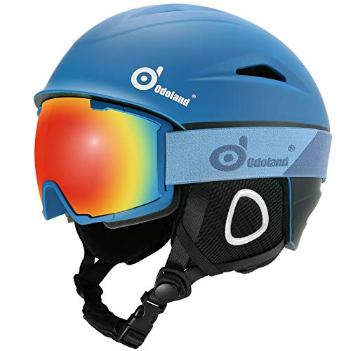 Odoland Ski Helmet with Ski Goggles, Multi-Options Snowboard Helmet and Goggles Set for Men Women and Youth, Blue & Black, L