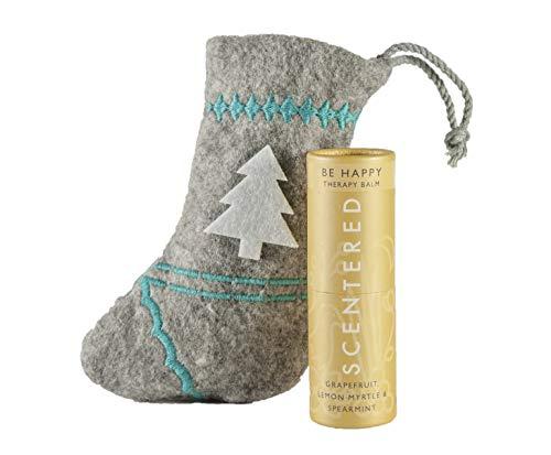 Scentered Christmas HAPPY Aromatherapy Balm Stick - Encourages Feelings of Positivity & Gratitude - Grapefruit, Lemon and Cedarwood Blend