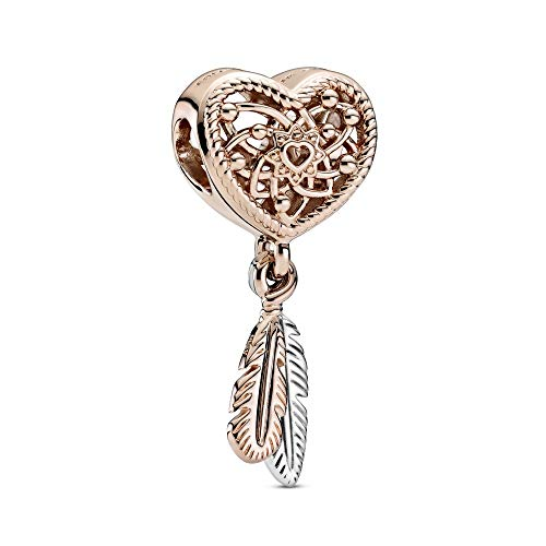 PANDORA Openwork Heart & Two Feathers Dreamcatcher PANDORA Rose Charm - 789068C00