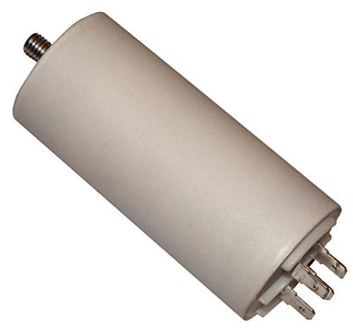 AERZETIX - C10516 - Condensatore permanente di lavoro per lotore - 25µF 450V - 42/95mm - con 4 terminali - M8 - corpo in plastica cilindrico bianco