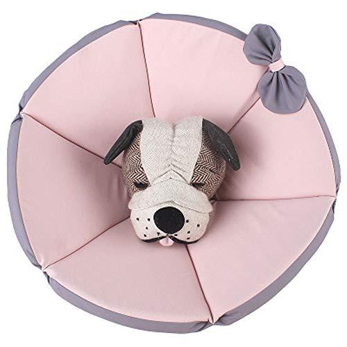 Komii エリザベスカラー 犬用 猫用 特大 軽量 布製 柔らかい 防水 耐久性 傷口保護 傷舐め防止 引っ掻き防止 調節可能 小型中型の大型犬猫に適しています (M, ピンク)