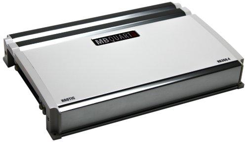 MB Quart NA360.4 Nautic Marine Audio Amplifier (Silver) – Full Range 4 Channel, 360-Watt, Onboard Electronic Crossover, Bass Boost, Adjustable Input Sensitivity