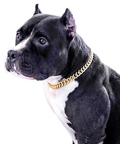 Gold Chain Dog Collar-15mm Cute Dog Collar Pet Gold Necklace Bulldog Light Metal Puppy Jewelry 20