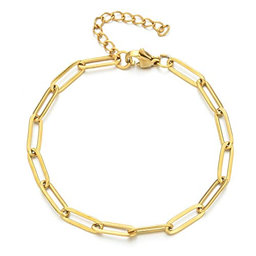 efsdhg Pulsera para mujer de acero inoxidable para hombre y mujer, color dorado, cadena ovalada ajustable (color de metal: pulsera dorada)