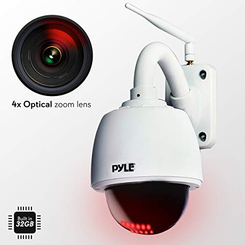 Outdoor IP Camera Optical Zoom - HD 960p w/ 32g SD Storage - Weatherproof Wireless WiFi Home Security Surveillance ONVIF H.264 - Outside PTZ Pan Tilt Dome and 4x Zoom PC iOS Android - Pyle PIPCAMHD47