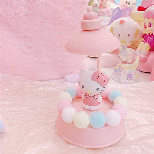 Zenghh Hello Kitty y My Melody lámpara de escritorio color de rosa, nacido Bebé Juego Toy Room dormitorio sueño de la noche de la lámpara Appease, adolescente Loft dormitorio de noche Montaje de la lá