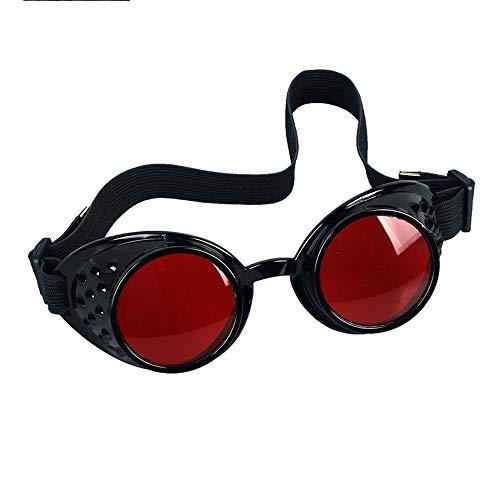 JIWEIER Nuova Vendita 8 Colori Lens Unisex Gotica Vintage Gotico Steampunk Occhiali da Saldatore Occhiali Cosplay Eyewear Occhiali Punk a Vapore (Color : Black, Size : Red Lens)