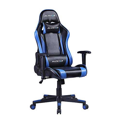 Alistar Gaming Chair Racing Office Chair Ergonomic Massage Chair PU Leather Recliner Computer Game Chair with Headrest and Lumbar Pillow Rolling Swivel Task Chair for Women Adult Blue