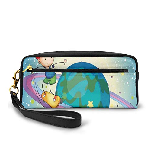 Pencil Case Pen Bag Pouch Stationary,Fantasy Boy Skateboarding On Rings Of Saturn Sci Fi Cosmos Planetary Playroom,Small Makeup Bag Coin Purse