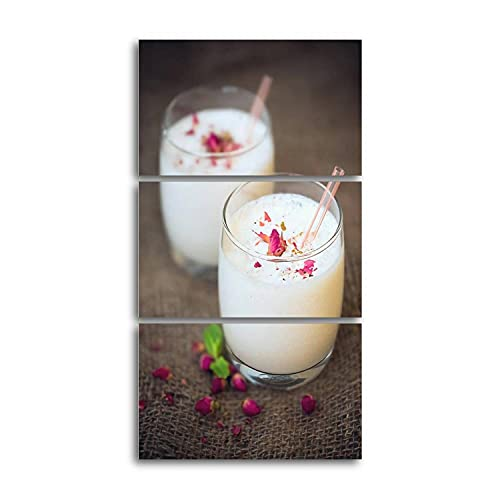 Rose Lassi Canvas Prints Wall Decor 3 Pieces Vertical Contemporary Artworks for Bedroom Bathroom Office Gifts 12x20inchx3pcs