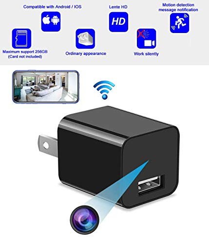 Spy hidden camera wireless wifi charger HD camera, mini hidden nanny camera without audio recording function, can remotely view, switch and play, better than clock camera, better than pen camera, and better than traditional surveillance. Support iOS / Android. (WFCC)