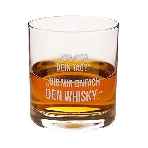 Geschenke 24 Whiskyglas – Dein Tag (ohne Wunschname): lustiges Whiskyglas mit Gravur von Leonardo - witziger Spruch für Whiskyliebhaber – optional personalisiert mit Deinem Wunschnamen