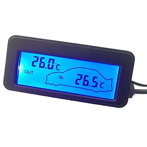 ZALA-Autothermometer 12V Digitalthermometer Autothermometer Von Hinten Beleuchtet Mini-Temperatur- Und Feuchtigkeitsmesser Mini-LCD-Auto-Innen- Und Außenthermometer (2)