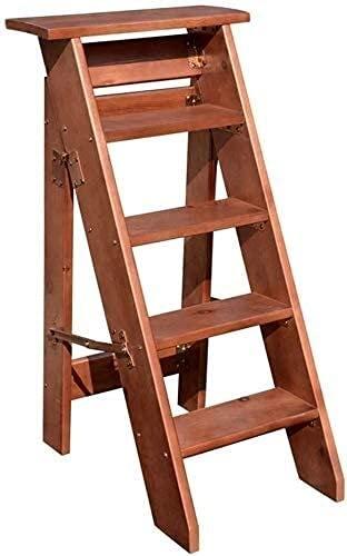 Escaleras portátiles livianas 5 pasos, escalera de madera sólida Taburete de la escalera plegable, adulto interior de madera planta de madera Soporte de la planta Herramienta de servicio pesado, capac