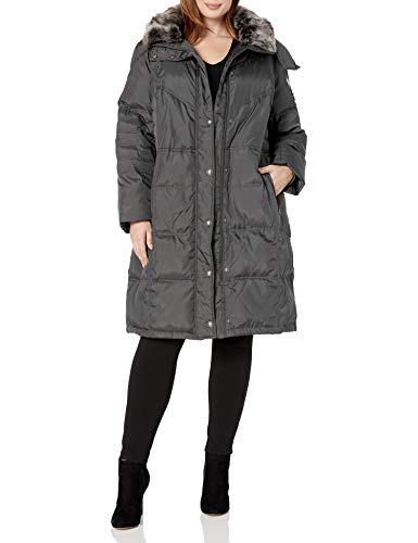London Fog Women's Plus-Size Mid-Length Faux-Fur Collar Down Coat with Hood, Gunmetal, 1X