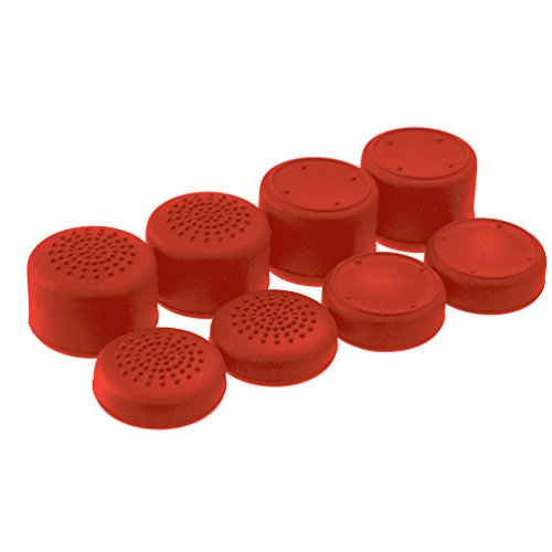 AceShot Thumb Grips (8pc) for Xbox One (Series X, S) by Foamy Lizard – Sweat Free 100% Silicone Precision Raised Antislip Rubber Analog Stick Grips For Xbox One Controller (8 grips) RED