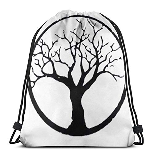 "Estrange Bonsai Tree In Enso Circle 3D Print Drawstring Backpack Rucksack Shoulder Bags Gym Bag For Adult 16.9""X14"""