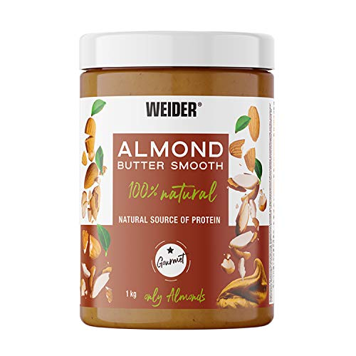 Weider Almond Butter. 100% crema de almendras natural con textura suave y cremosa. Sin azúcares añadidos. Apta para veganos. Sin aceite de palma 1000g