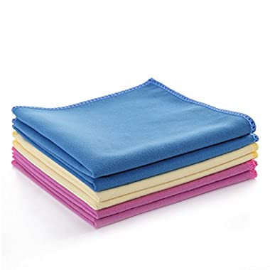 Luckiss Microfiber Kitchen Cleaning Cloths Streak Free Absorbent Quick Dry Durable Rags for Drying Polishing Glass Stainless Steel Kitchen Appliances Dust and Dish Cloths 12 X 12 inch (6 pack)