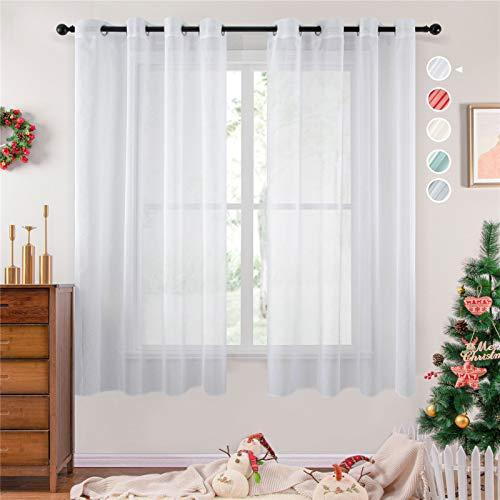 Topfinel Voile Weihnachten Vorhänge Leinenstruktur mit Ösen Lichtdurchlässig Einfarbig für Fenster Wohnzimmer Schlafzimmer Moderne und Elegante Gardine 2er Set je 200x140cm (HxB) Weiß