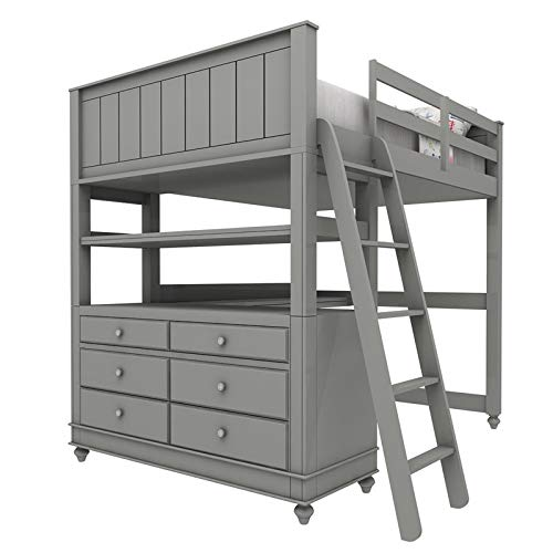 Rosebery Kids Full Wood Loft Bunk Bed with Desk and Dresser in Stone Gray