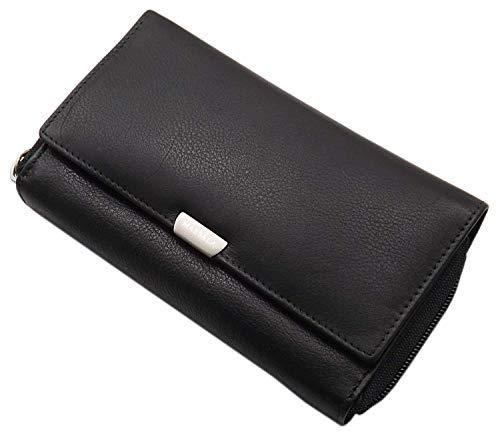 Grande portafoglio di pelle per donna in 3 diversi colori con blocco RFID & NFC (Nero)