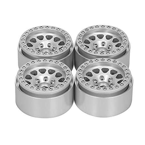 hndfhblshr Accessorio per Pezzi di Ricambio RC Mozzo Ruota in Metallo Beadlock 12 Raggi Compatibile con SCX10 II 1/10 RC Modello di Auto di Ricambio ( Color : Silver )