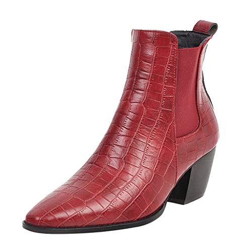 Anliyou Damen Stiefel mit künstlich Krokodilleder PU Chelsea Boots mit Blockabsatz Winterstiefel rot schwarz weiß Stiefelette mit Stretchgewebe Übergangsschuhe Lederstiefel Halbstiefel Lackstiefel