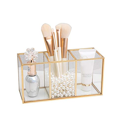 fuguzhu Schminkpinsel Aufbewahrung, Transparenter Kosmetik Organizer Golden Schmuck Pinselhater aus Metall und Glas für Nagellack, Lippenstifte, Kosmetikpinsel