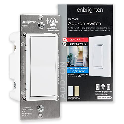 GE Enbrighten Add-On Switch QuickFit and SimpleWire, In-Wall Paddle, Z-Wave ZigBee Wireless Smart Lighting Controls, Latest Version, NOT A STANDALONE Switch, 46199