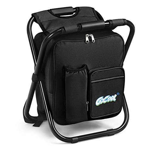 Goplus 3 in 1 Backpack Cooler Chair, Folding Camping Chair, Multifunction Collapsible Camping Stool Perfect for Outdoor Events Hiking Events, Beach, Fishing (Black)