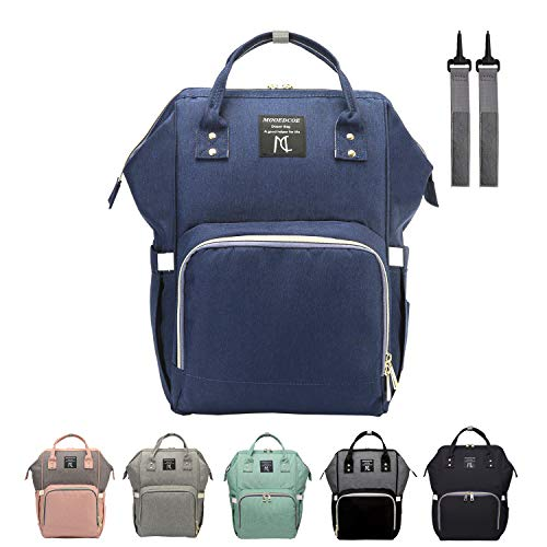 Backpack Baby Diaper Bags, Mooedcoe 7 Gallon Spacious 15 Pockets for Easy-organizing Waterproof Travel Backpack, Maternity Nappy Bag, Neutral for Mom & Dad- Navy Blue