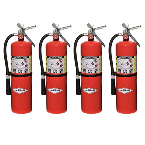 Amerex 10 Pound Stored Pressure ABC Dry Chemical 4A:80B:C Steel Multi-Purpose Fire Extinguisher For Class A, B And C Fires With Anodized Aluminum Valve, Wall Bracket, Hose And Nozzle (4 Pack)