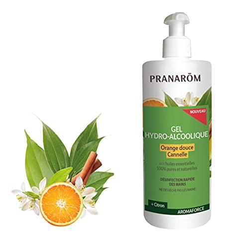Pranarôm Gel Hydro Alcoolique aux Huiles Essentielles d'Orange Douce Cannelle Citron Bois de Hô Gingembre 500 ml
