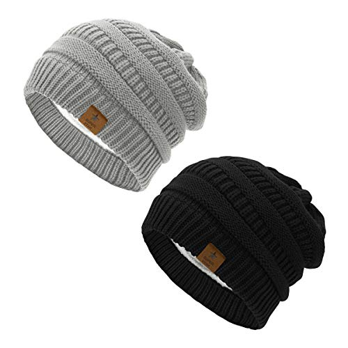 Durio Womens Slouchy Beanies Fleece Lined Warm Winter Beanie for Women Unisex Knit Solid Beanies Skiing Snowboarding Black & Light Grey One Size