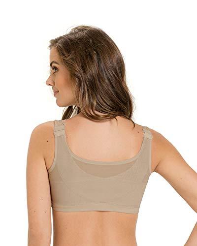 Leonisa Women's Minimizer Wireless Lace Posture Back Support Bra Front Closure Beige