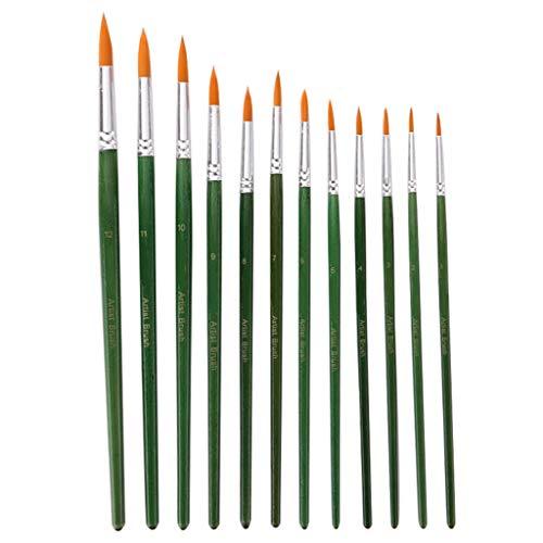 Qirun 12pcs pinceaux acryliques pinceaux Pointus Pinceau Aquarelle Cheveux en Nylon
