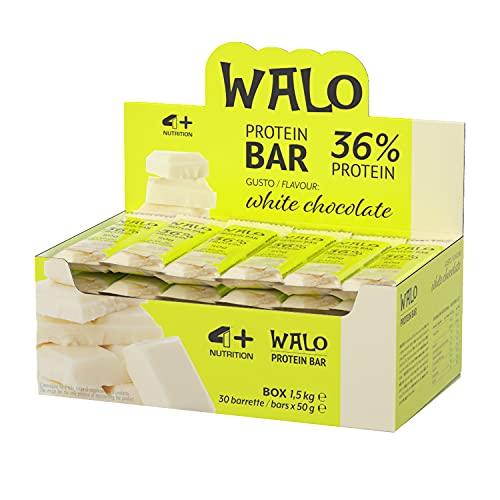 4+ NUTRITION - Walo Crockbar, Integratore Sportivo, Barrette Proteiche, con Sieroproteine, Gusto White Chocolate, 30 pezzi