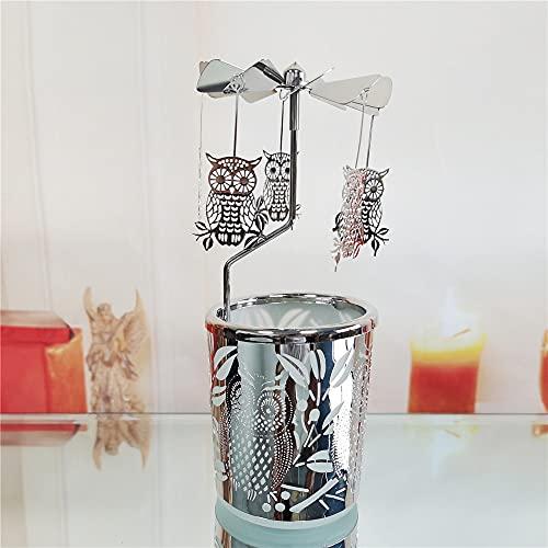 Portacandele rotante rotante in argento dorato giostra candeliere con gufo placcato decorazione per la casa, regalo per matrimonio mamma moglie sposa compleanno (B01)